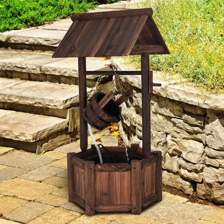 Costway Garden Rustic Wishing Well Water Fountain Wooden Outdoor Electric Backyard - Rustic Outdoor Decor