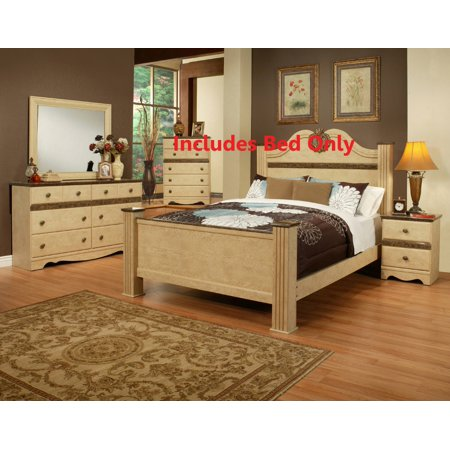 Queen Size Bisque Wood Transitional Four-Poster Panel Bed (Headboard, Footboard, Rails