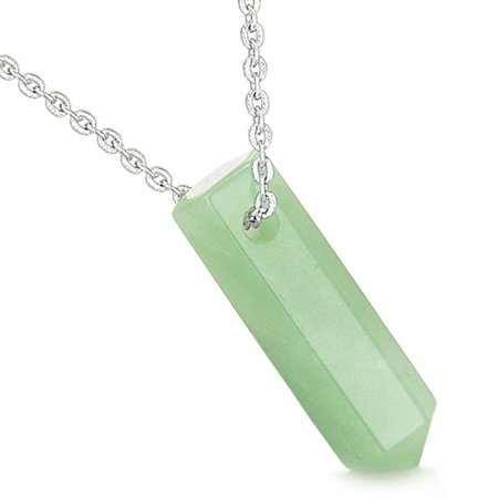 Amulet Lucky Crystal Point Wand Green Quartz Bullet Style Pendant 18 Inch Necklace