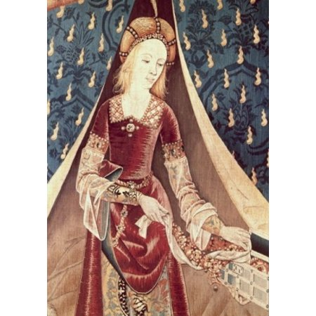 Lady & the Unicorn- A Mon Seul Desir (Detail)TapestryTextiles Musee National du Moyen Age Thermes & Hotel de Cluny Paris France Canvas Art -  (24 x