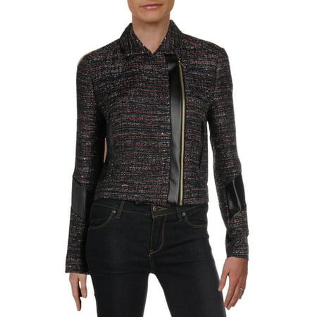 Rachel Zoe Womens Faux Leather Moto Tweed Jacket Black M