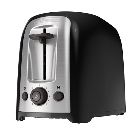BLACK+DECKER 2-Slice Extra Wide Slot Toaster, Black/Silver,