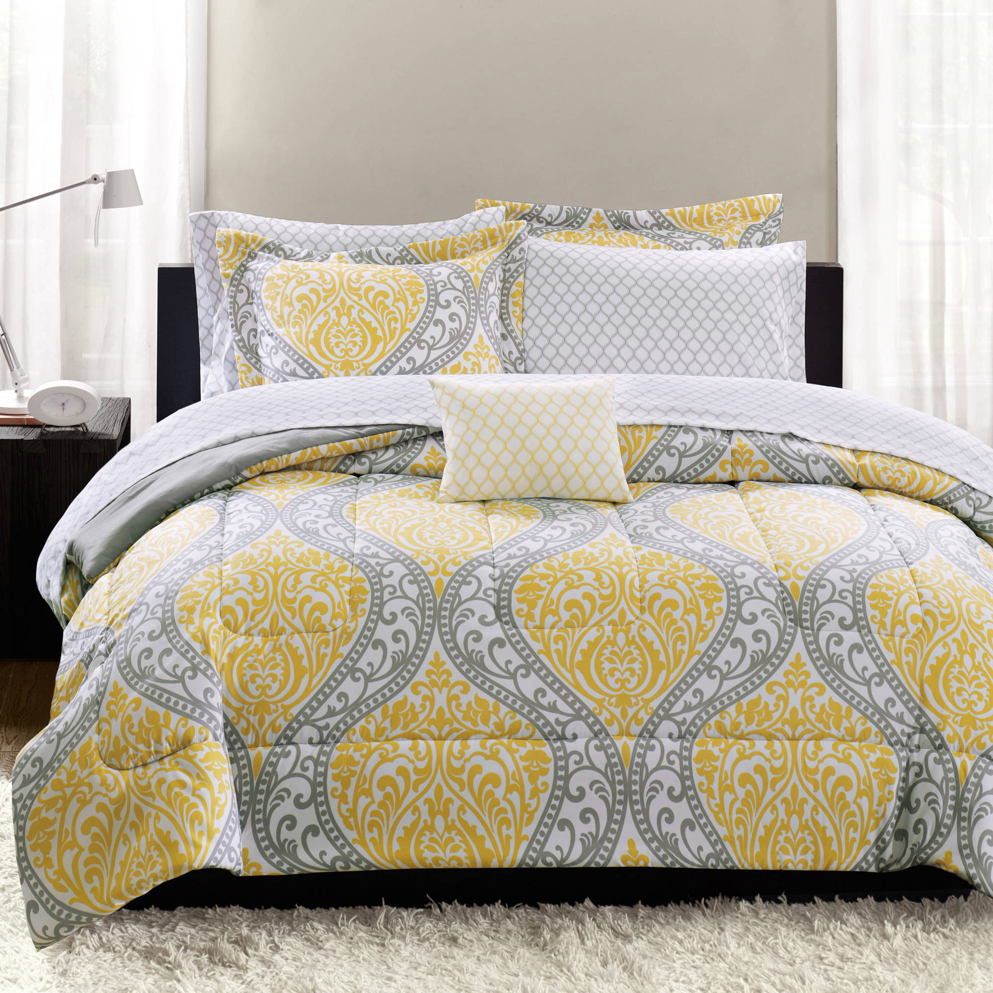 Mainstays Yellow Damask Coordinated Bedding Set Bed in a Bag - Walmart.com