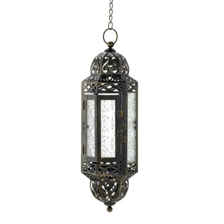 Intricate Hanging Moroccan Lantern - 1 Unit, Iron and Glass By Tom Co ()