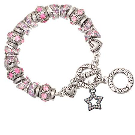 Crystal Star Charm Bracelet - Black Nickeltone Open Star with Clear AB Crystals Pink Butterfly Bead Charm Bracelet