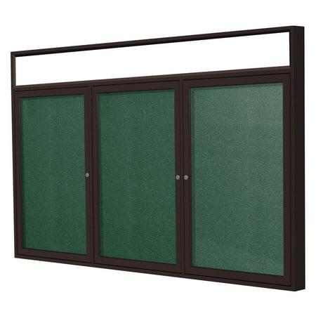3-Door Outdoor Enclosed Tackboard in Spruce (72 in. W x 36 in. H)