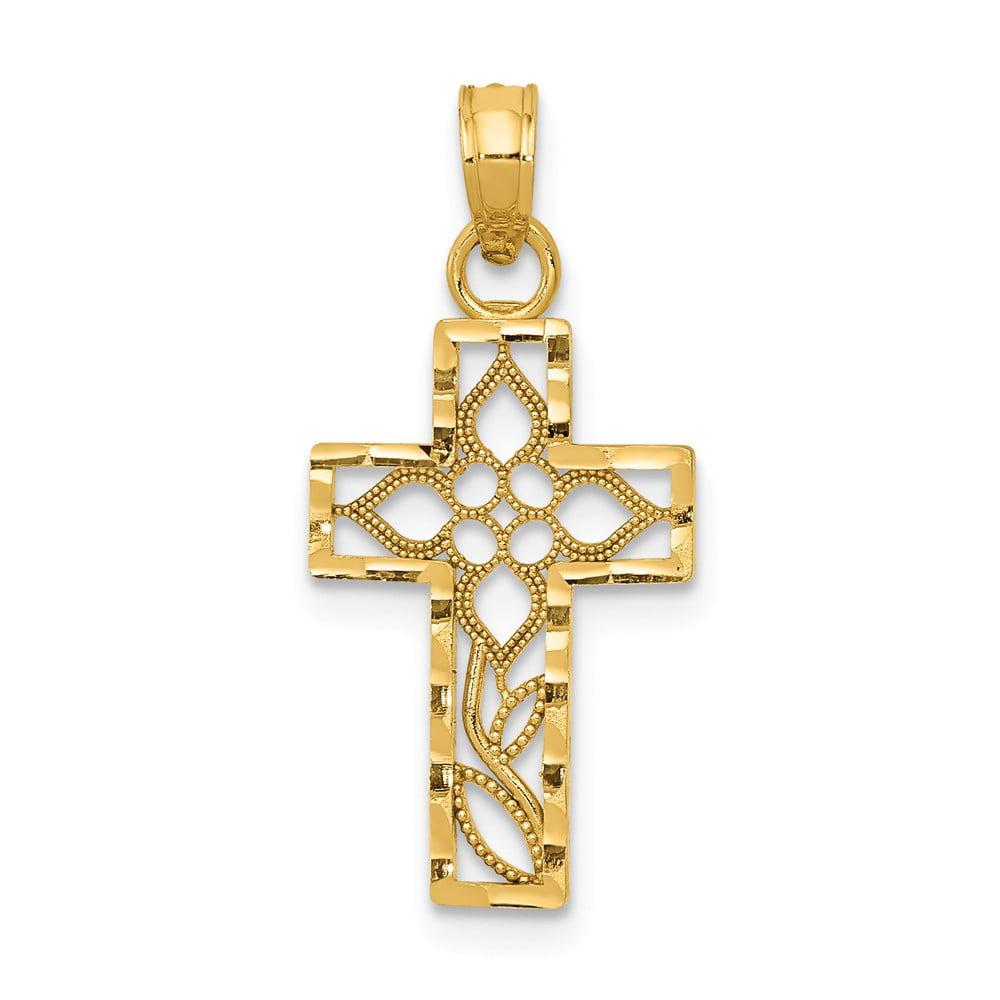 14k Yellow Gold D/C Filigree Cross Pendant
