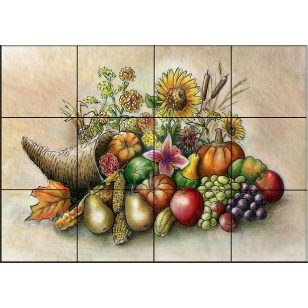 Ceramic Tile Mural Cornucopia By Lori Schory Kitchen Backsplash Bathroom Shower Walmart Com Walmart Com
