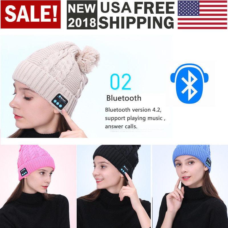 Bluetooth Smart Hat Wireless Music Cap Warm Beanie Headphone Headset Mic US(White)