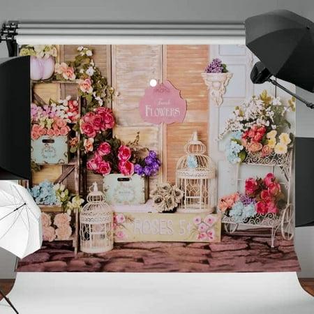Shop Studio - 5ftx7ft lightingampstudio Vinyl Vinyl Rose Flower Shop Screen Photography Background backdrop Studio Video Prop DIY Curtain New