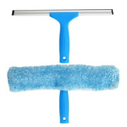 """MR.SIGA Professional Window Cleaning Combo - Squeegee & Microfiber Window Scrubber 10"""", Blue"""