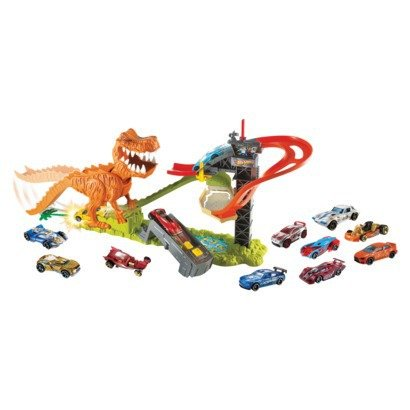 hot wheels t rex takedown playset with 18 cars. Black Bedroom Furniture Sets. Home Design Ideas