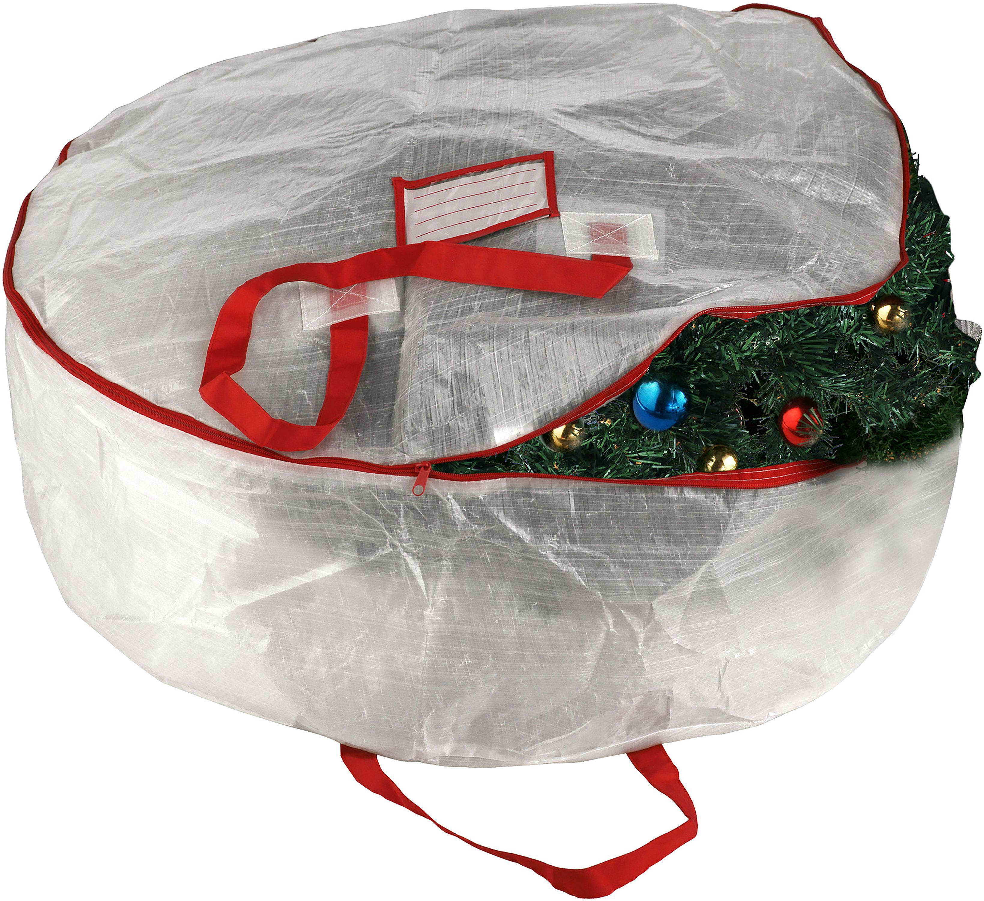"Elf Stor Deluxe Wreath Storage Bag-White, 30""X10"""