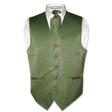 Olive Green Colour - Men's Dress Vest & NeckTie OLIVE GREEN Color Vertical Striped Design Set