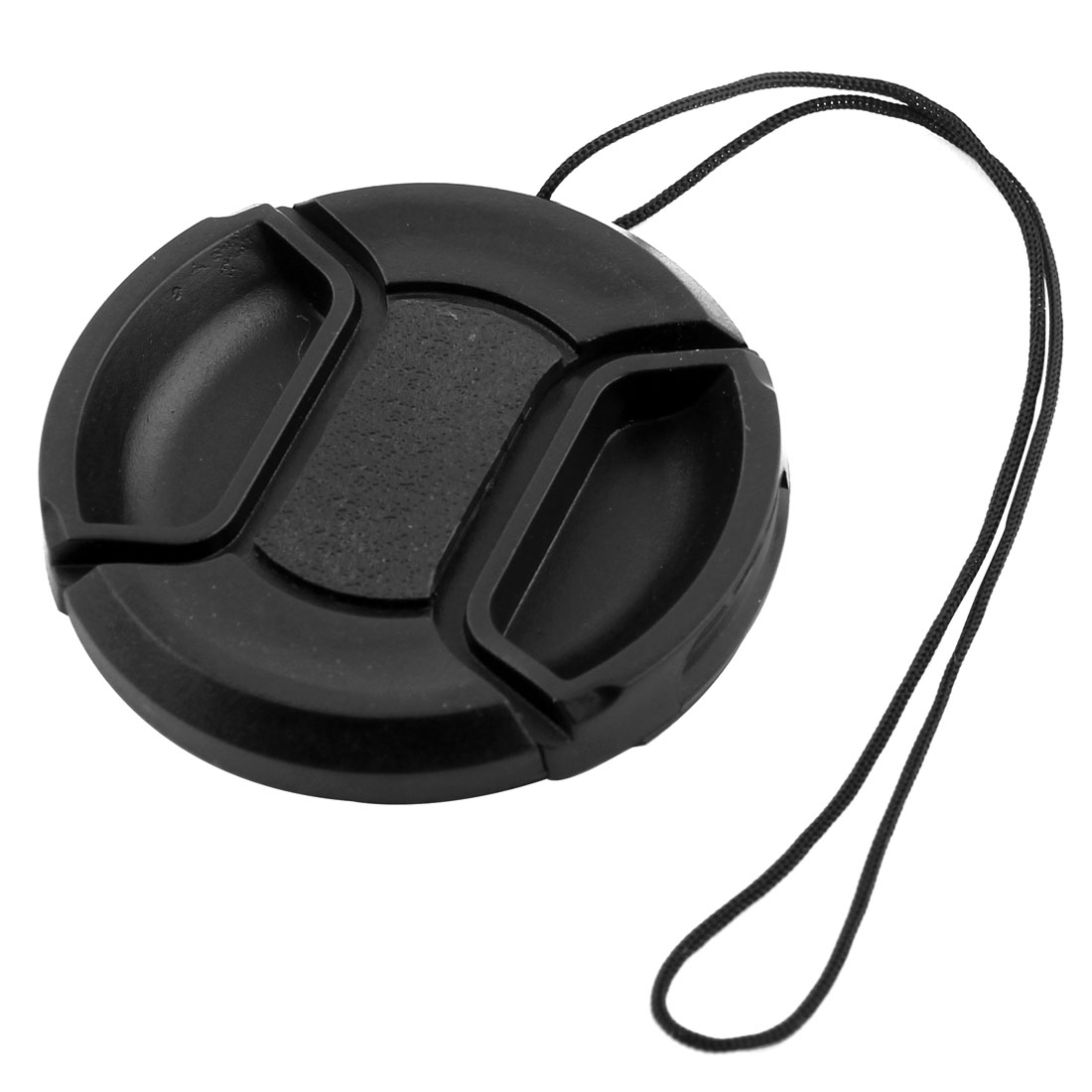 Camera Lens 49mm Dia. Black Center Pinch Hood Cap w String