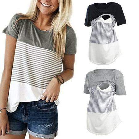 Women Maternity Breastfeeding Tee Nursing Tops Striped Short Sleeve (Nursing T-shirt Uniform)