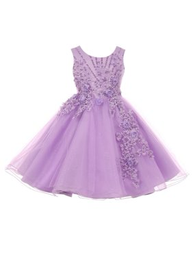 36b478af857 Product Image Girls Lavender Pearl Beaded Glitter Tulle Junior Bridesmaid  Dress