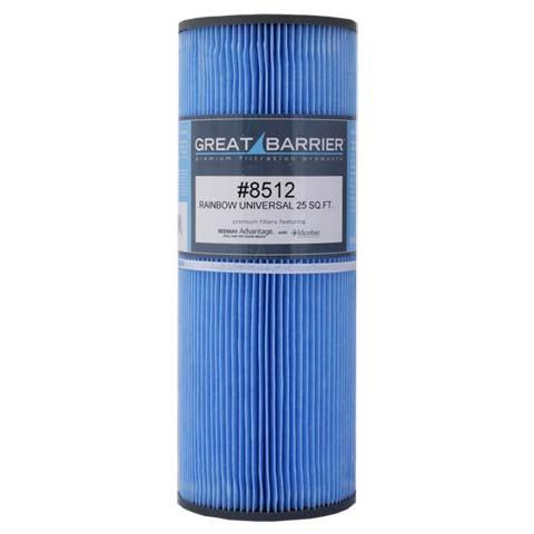 Hot Tub Great Barrier Filter 25 Sf Rainbow Universal Single Replacement Filter HTCP8512 -