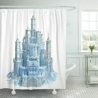 CYNLON Blue Cinderella Ice Castle 3D Snow Frozen Princess Palace Bathroom Decor Bath Shower Curtain 66x72 inch