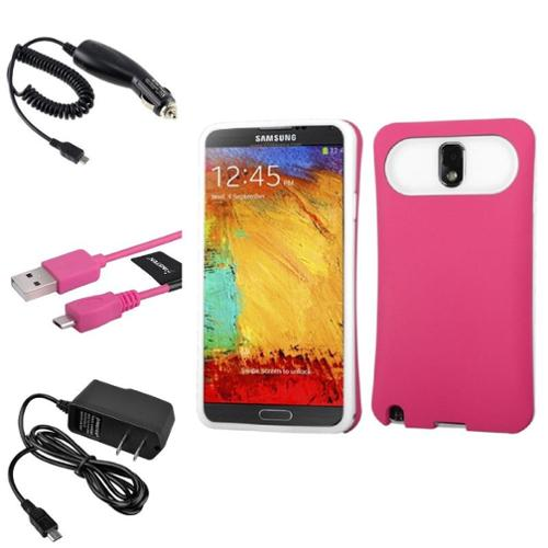 Insten Pink Wallet Back Case+DC+Home Charger+Cable For Samsung Galaxy Note 3 N9000