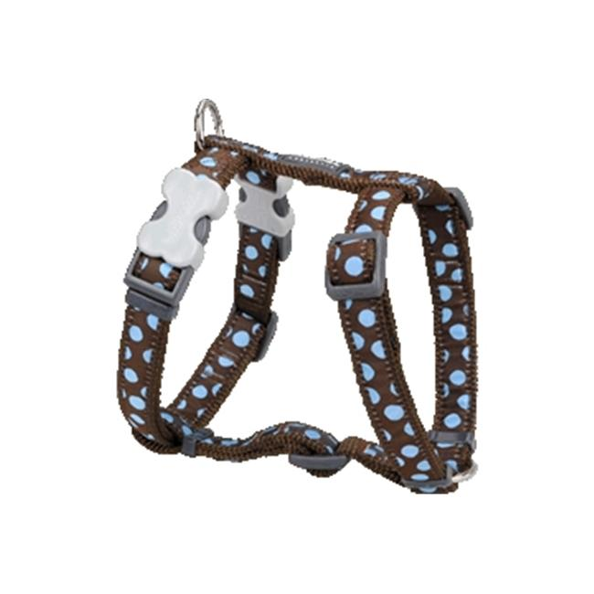 Red Dingo DH-S2-BR-LG Dog Harness Design Blue Dots on Brown, Large