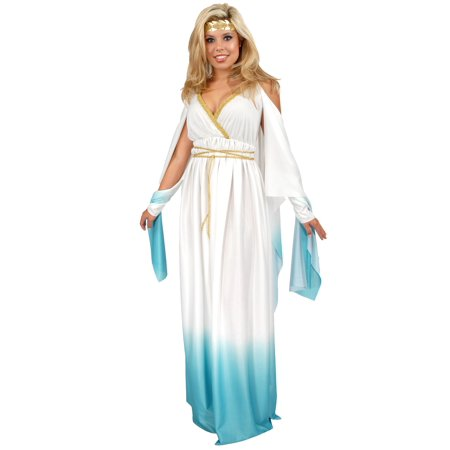 Adult White and Blue Greek Goddess Costume (Adult Greek Goddess Costume)