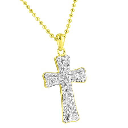 Iced Out Cross Pendant 14K Gold Finish Over Sterling Silver Lab Diamonds 24  Chain