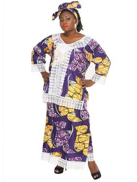 African Planet Women's Purple Wax 3 Set Kitenge Inspired Wrap Around Skirt Maxi