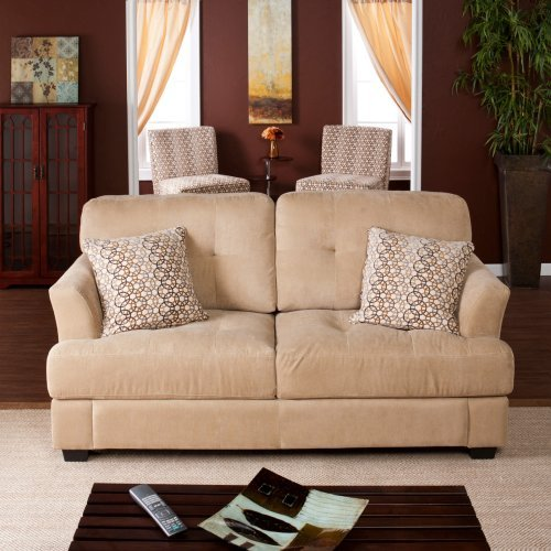 Southern Enterprises Elle Sofa with Pair of Celia Chairs with Pillows - Hoops Mystic