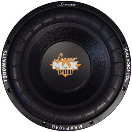 - Lanzar MAXP104D Max Pro 10-Inch 1,200-Watt Small Enclosure Dual 4-Ohm Subwoofer
