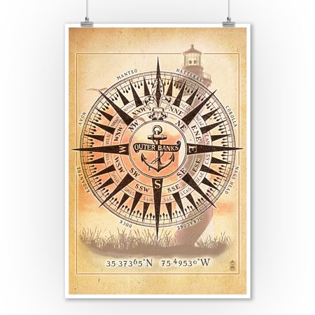 Outer Banks  North Carolina   Compass   Lantern Press Artwork  9X12 Art Print  Wall Decor Travel Poster