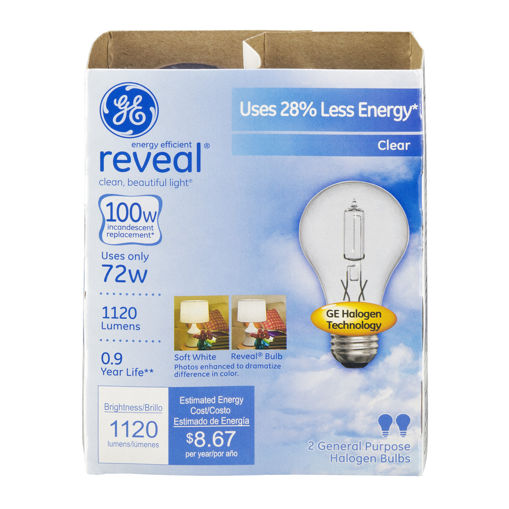 ge energy efficient reveal 72 watt clear general purpose halogen bulbs 2 ct