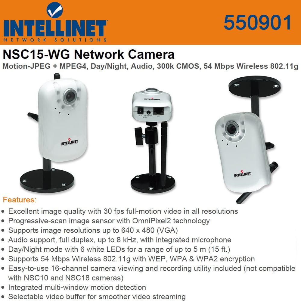 Intellinet (550901) Motion-JPEG + MPEG4, Day/Night Audio, 300k, 54 Mbps Wireless