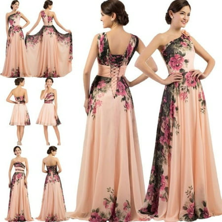 Elegant Women Sexy Floral Evening Formal Party Ball Gown Bridemaid Long Dress