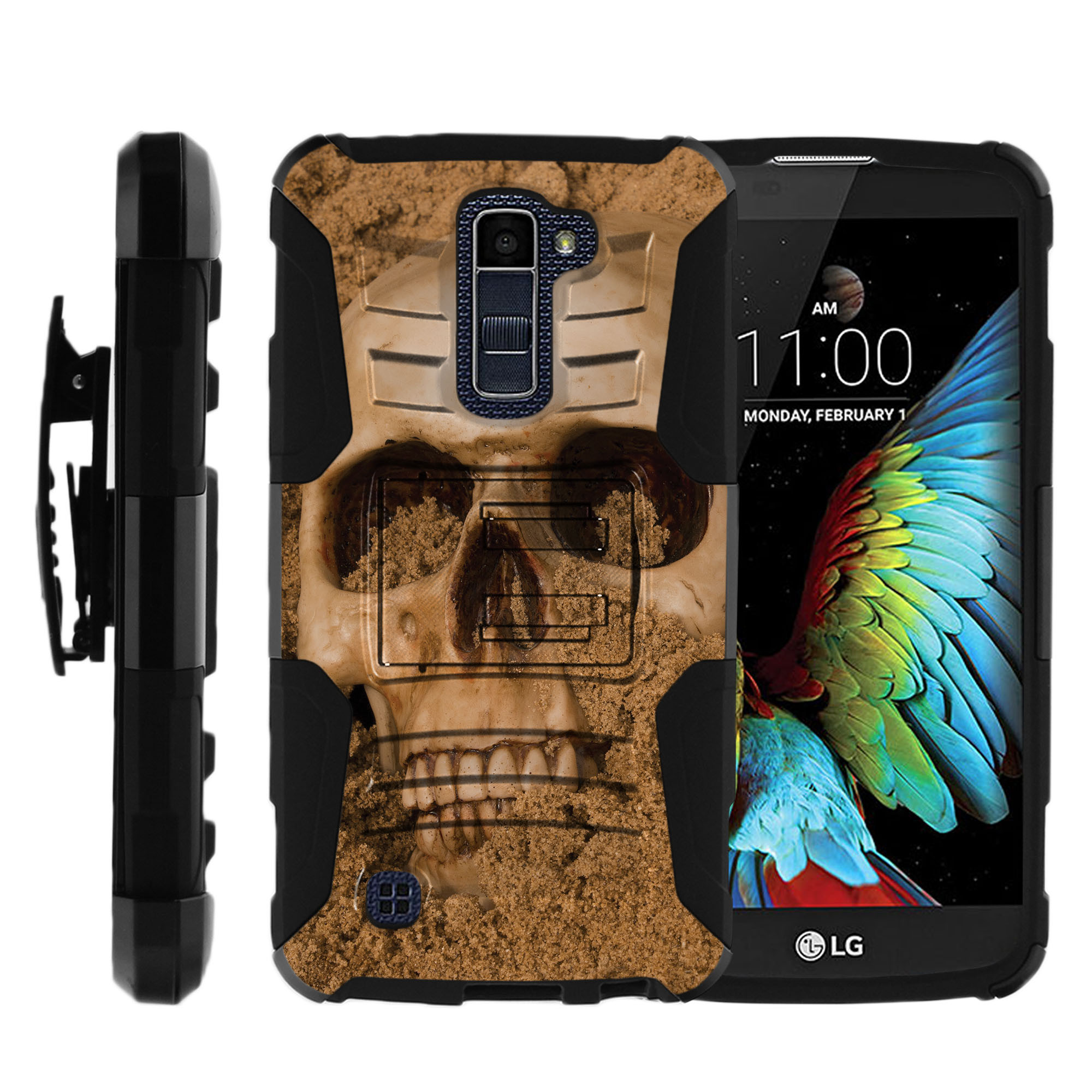 LG K10 and LG Premier LTE Miniturtle® Clip Armor Dual Layer Case Rugged Exterior with Built in Kickstand + Holster - Mechanical Skull