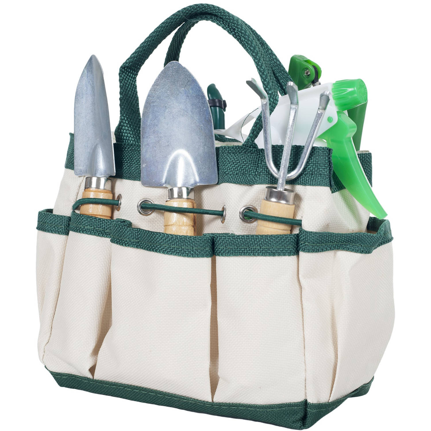 7 Piece Gardening Tool Set – Mini Planting and Repotting Kit and Carrying Tote Bag Organizer for Succulents, Herbs, and Bonsai Plants by Pure Garden