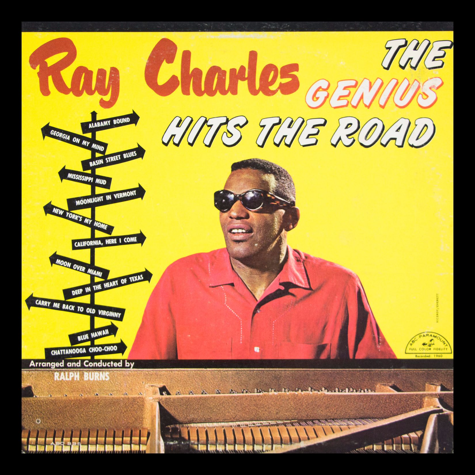 Ray Charles The Genius Hits the Road Vintage Album in Frame