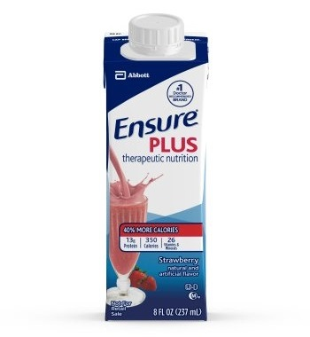 Ensure Plus Strawberry Therapeutic Nutrition, 8 Ounce Recloseable Carton, Abbott 64907 - Case Of 24