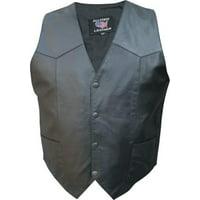 Men's XL Size Split Cowhide Leather 2 front 2 inside pockets Black Hardware Plain vest