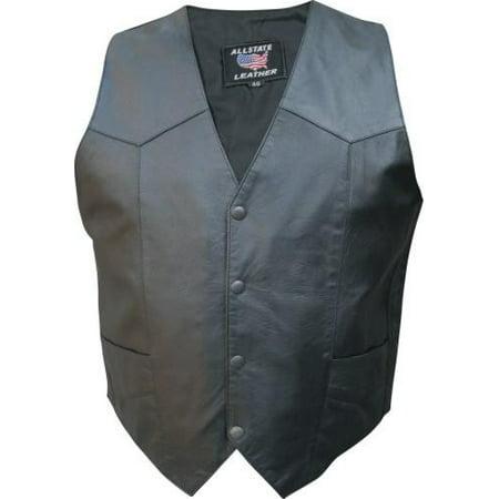 Clean Cowhide Leather - Men's XL Size Split Cowhide Leather 2 front 2 inside pockets Black Hardware Plain vest