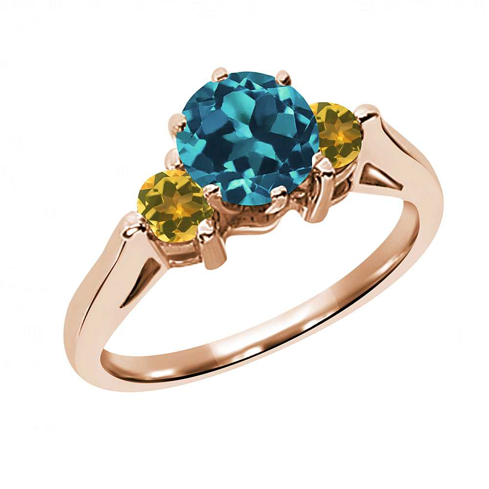0.69 Ct Round London Blue Topaz and Simulated Citrine 18K...