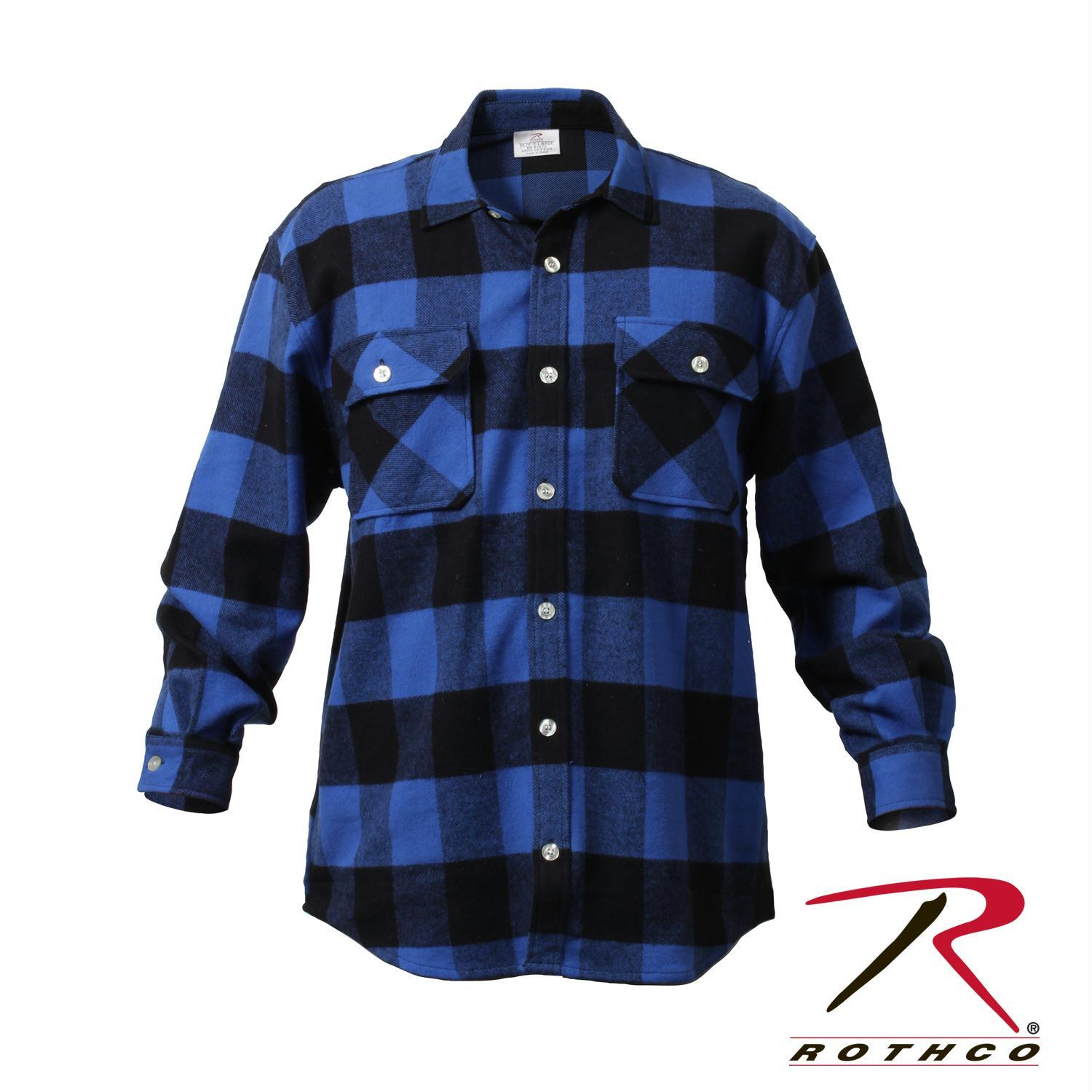 Rothco Extra Heavyweight Buffalo Plaid Flannel Shirts 5XL,Blue Plaid