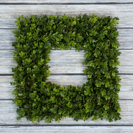 Boxwood Wreath  Artificial Wreath For The Front Door By Pure Garden  Home Decor  Uv Resistant   16 5 Inches  Square
