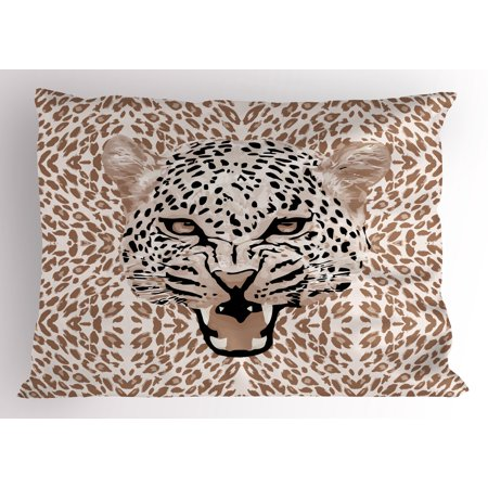 African Pillowcase - Modern Pillow Sham Roaring Leopard Portrait with Rosettes Wild African Animal Big Cat Graphic, Decorative Standard King Size Printed Pillowcase, 36 X 20 Inches, Cocoa Beige Black, by Ambesonne