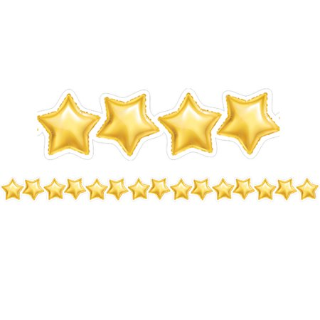 GOLD MYLAR BALLOON STARS BORDER - Gold Star Balloons
