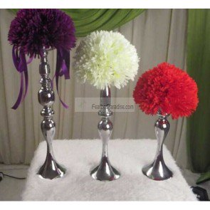 Wedding Feather Ball/Floral Ball Stands /Candle Holders/Pillar Candle Holder Reversible A Set of 3 Pieces Silver New!!! Feather Candle Holder