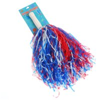 US Toy Patriotic Shiny Plastic Streaming 15in Pom Poms, Multicolors, 12 Pack