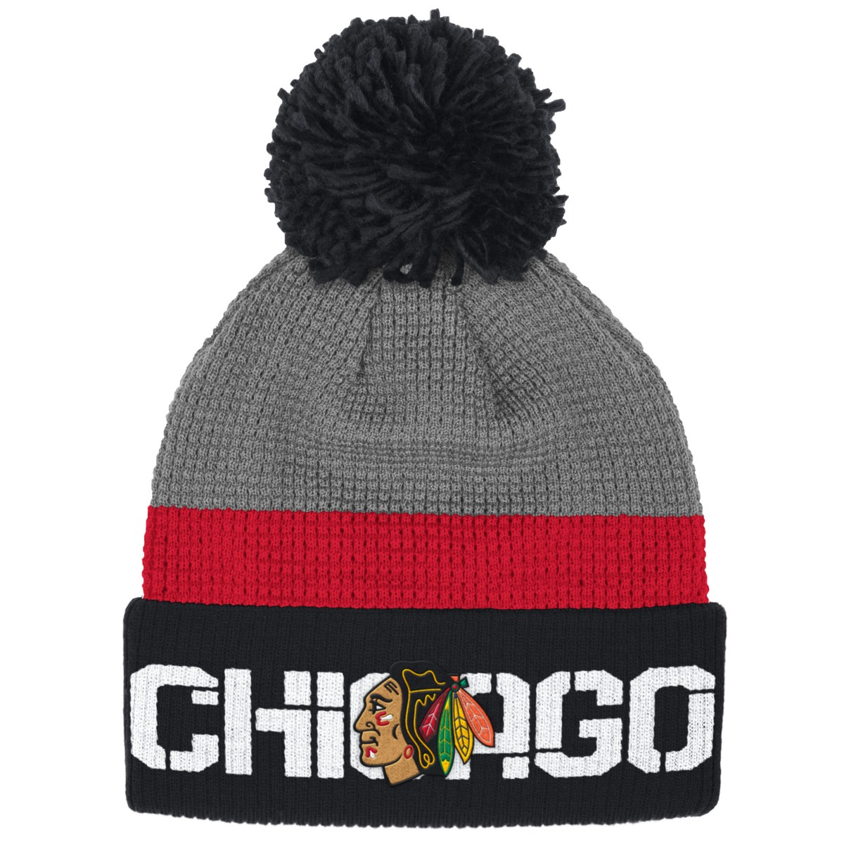 e23dcb5d12c ... new zealand chicago blackhawks reebok nhl 2016 center ice cuffed knit  hat w pom 3395a 67246