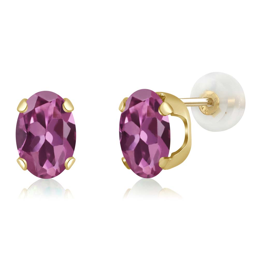 1.40 Ct Oval 7x5mm Pink Tourmaline AA 14K Yellow Gold Stud Earrings by