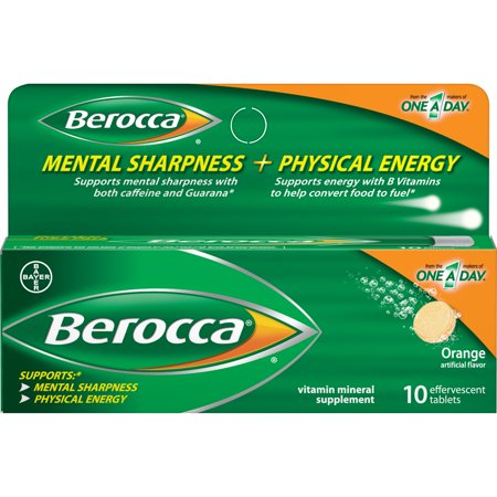 Berocca Vitamin Mineral Supplement with B-Vitamins, for Physical Energy and Vitamins A, C, and Zinc for Immune Support*, 10 Effervescent Tablets, Orange